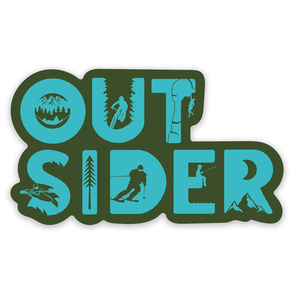 Outsider Sticker - Climbing, Biking, Camping, Hammock, Skiing, Fishing and Kayaking