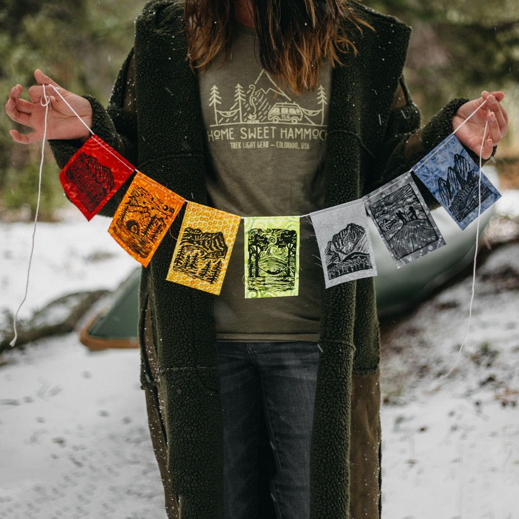 Prayer Flags - Modern Design - Rock Climbing Van Life Hammock Camping