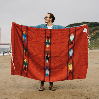 Runaway Jim Adventure Blanket - Van Life, Picnic, Camping. Fish Design Mexican Blanket
