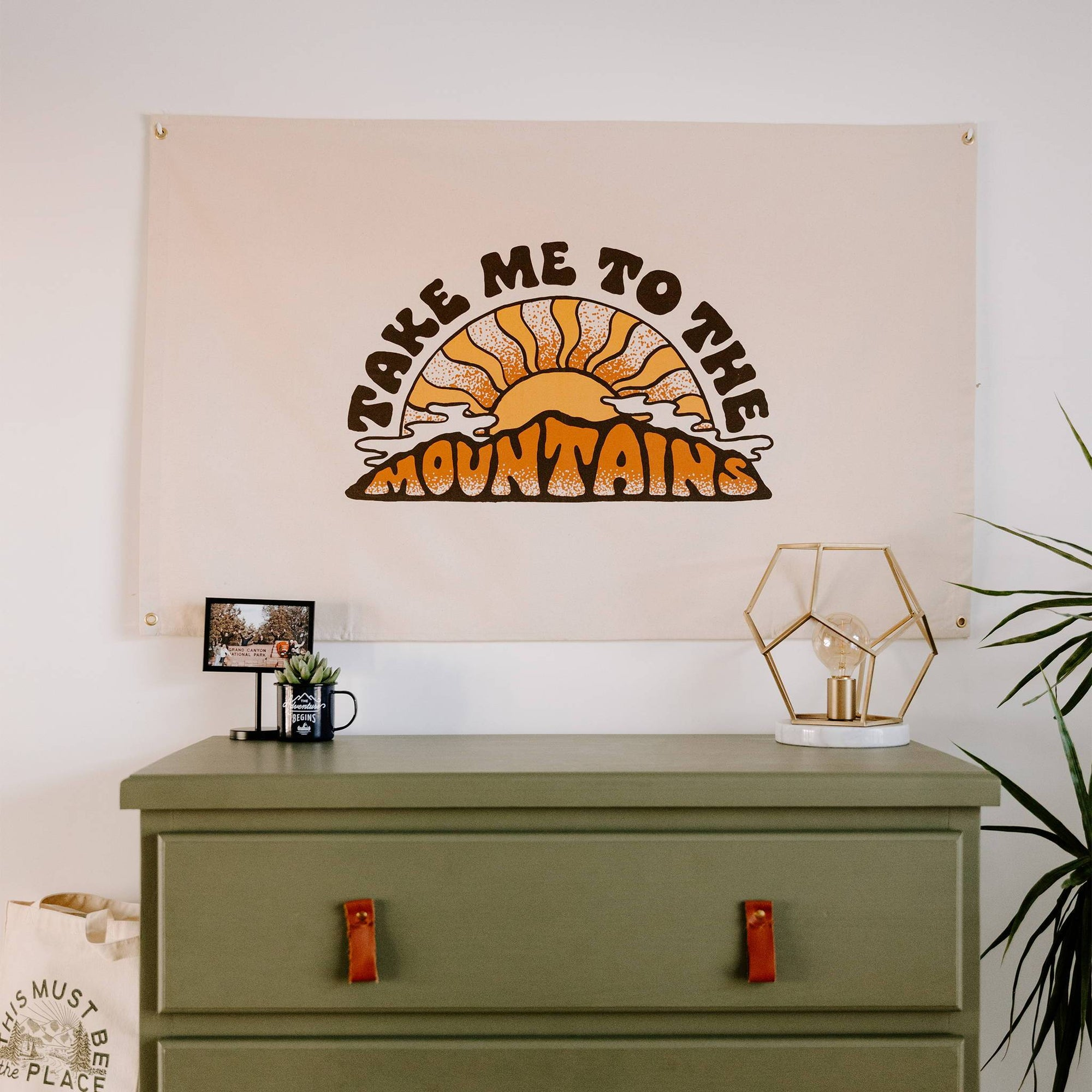 Take Me To The Mountains Canvas Flag
