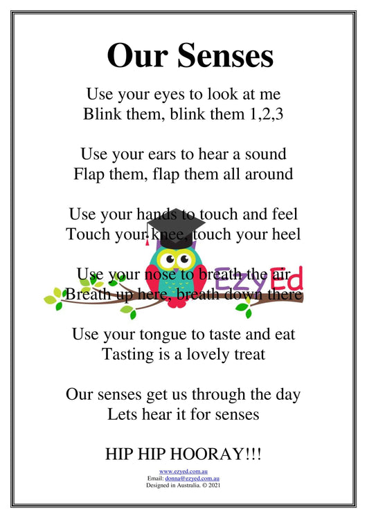 Our Senses Rhyme Digital Download Poster