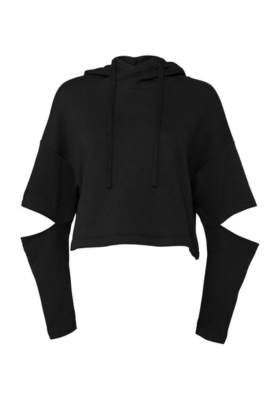 FEARLESS Women's cut out elbow Cropped Hoodie