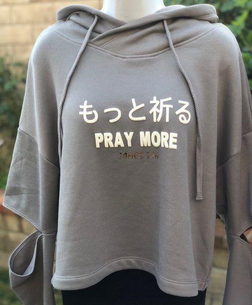 PRAY MORE Women's cut out elbow Cropped Hoodie