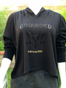 Grounded Life Cropped Lightweight Hoodie