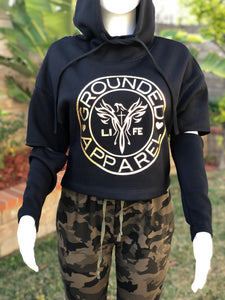 Grounded Logo Women's cut out elbow Cropped Hoodie