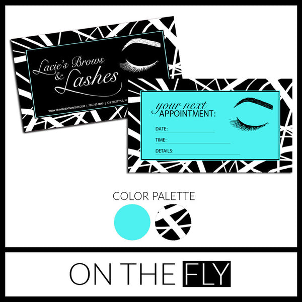 Black + White Microblading Appointment Business Card - On The Fly