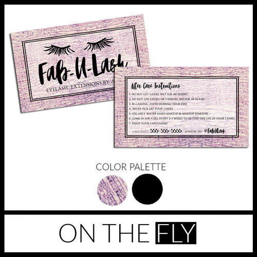 Fab-U-Lash Aftercare Business Card - On The Fly