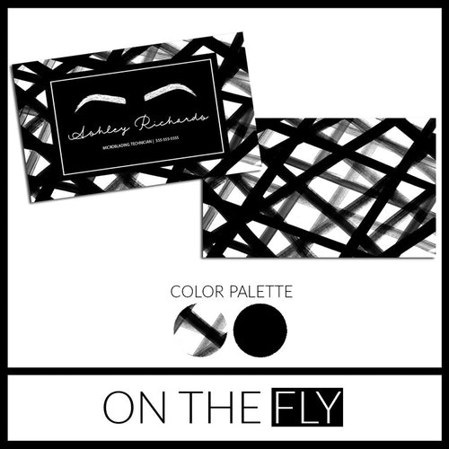 Black + White Microblading Business Card - On The Fly