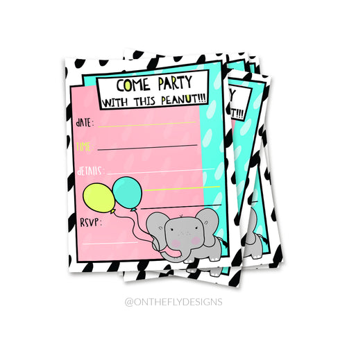 Come Party With This Peanut Elephant Invitation - On The Fly