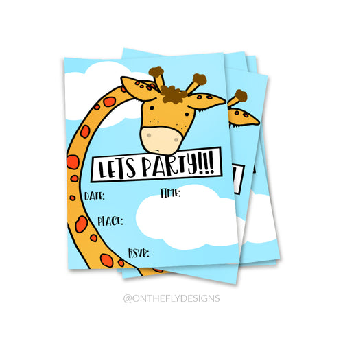 Lets Party Giraffe Invitation - On The Fly