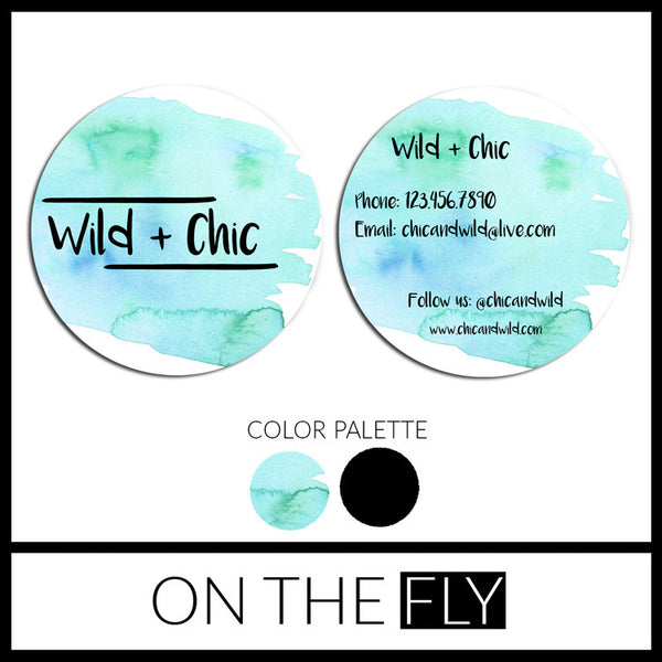 Wild + Chic Watercolor Business Card - On The Fly