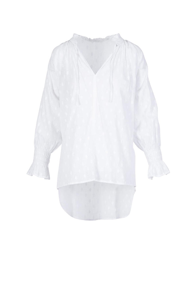 RUFFLE NECK SHIRR CUFF BLOUSE