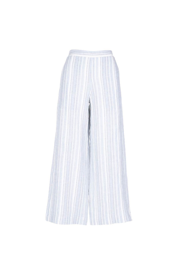 POWDER BLUE/CHALK LIGHTWEIGHT COTTON LINEN STRIPE