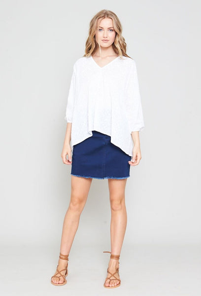 FEATURE FRAY DENIM SKIRT