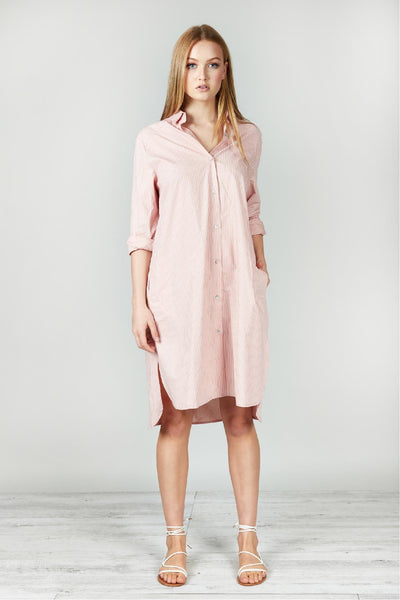 PEACH/CHALK WASHED COTTON STRIPE