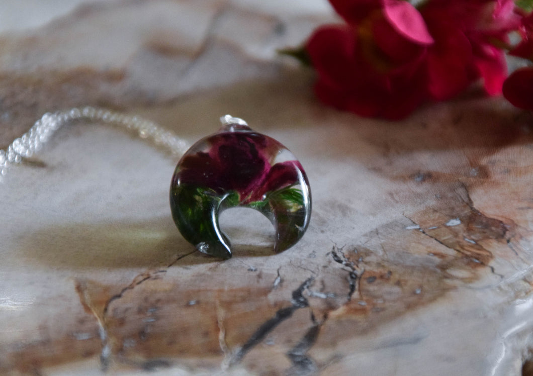 Real Rose Crescent Moon Necklace