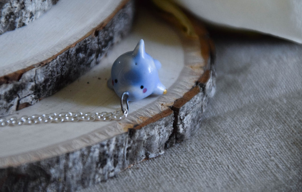Hand Sculpted Porcelain Dolphin Necklace