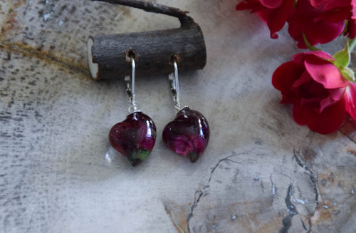 Real Rose Heart Earrings