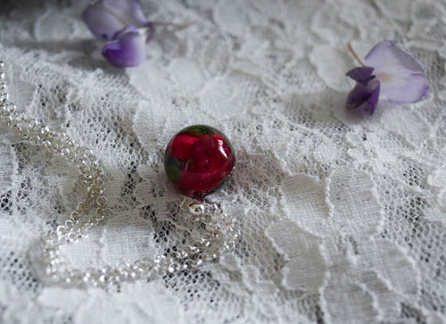 Small Rose Orb Necklace