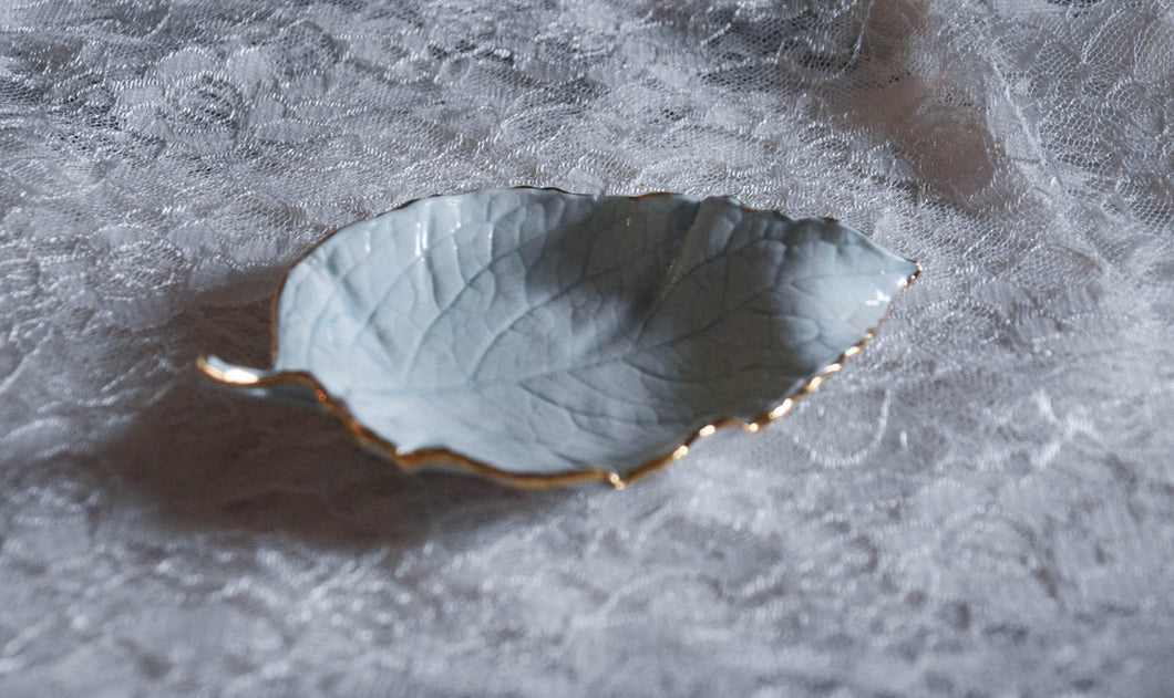 Two Porcelain Leaf Dishes