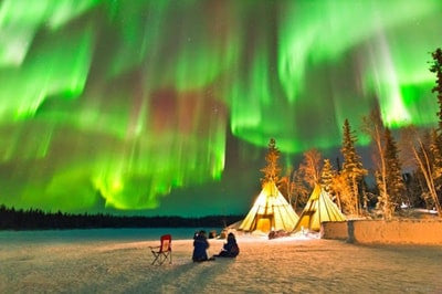 Dazzling Aurora Borealis Dance In The Night