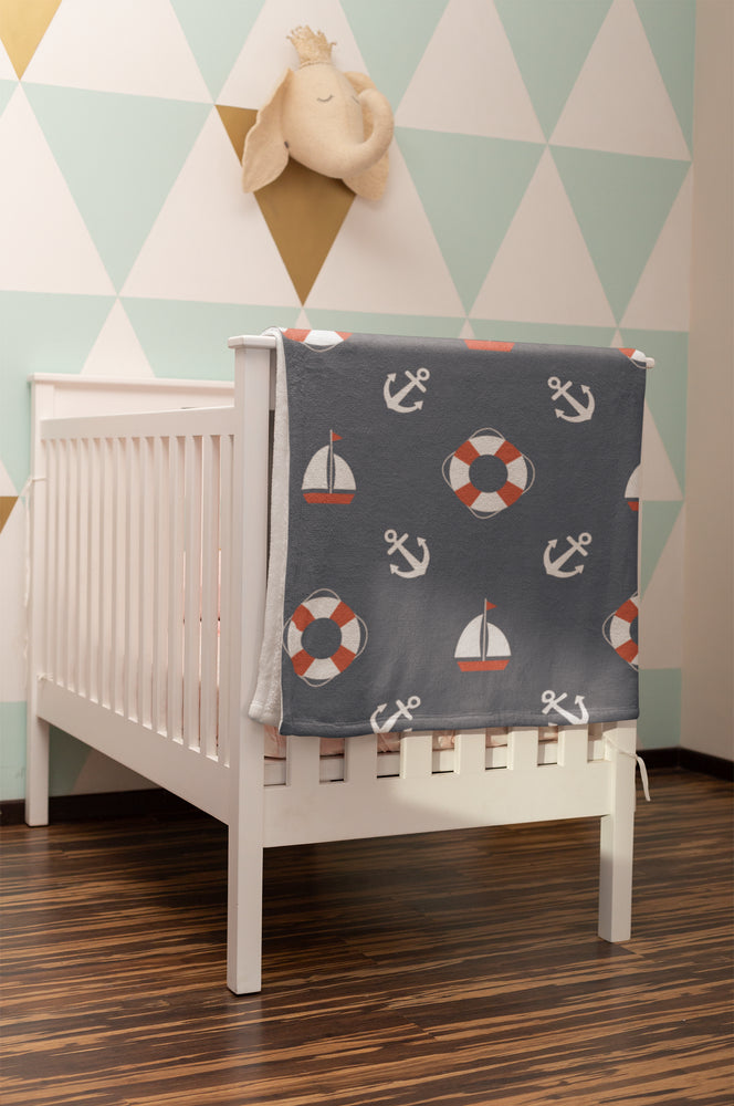 Nautical Nursery Baby Blanket Pattern Velveteen Micro Fleece Blanket - 30x40