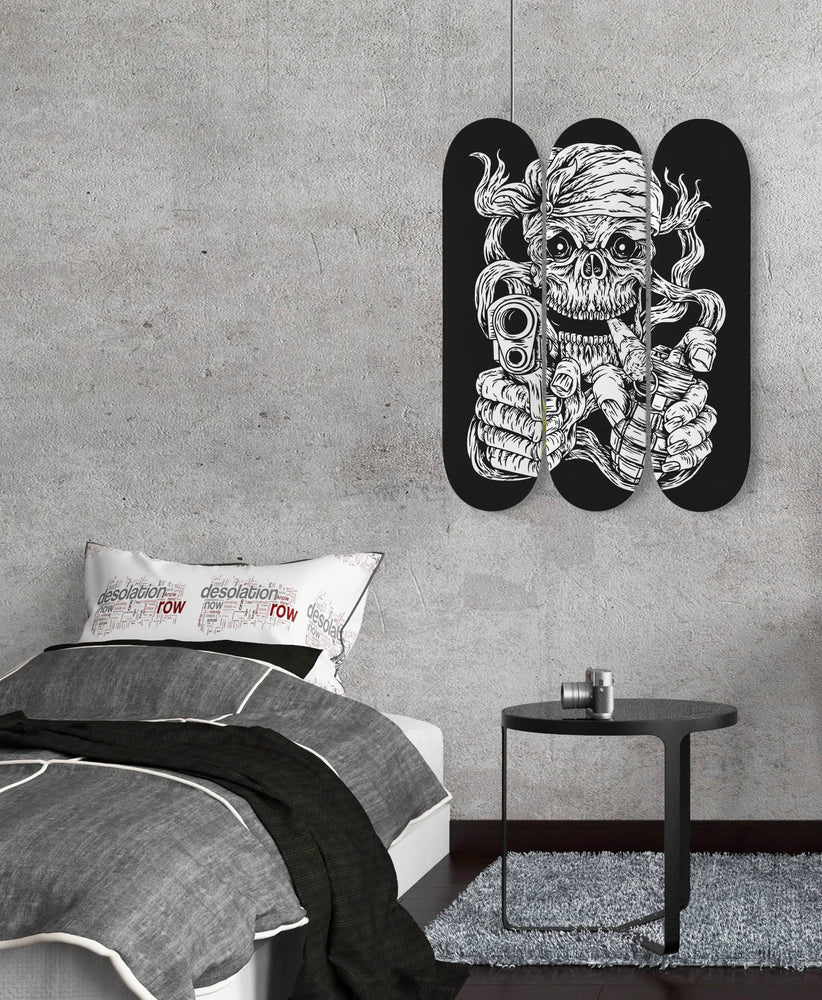 Nautical Wall Art Skull Pirate Skate Board Set Of 3