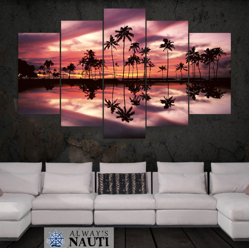 Nautical Beach Themed Artwork - Coconut Tree Ocean At Sunset