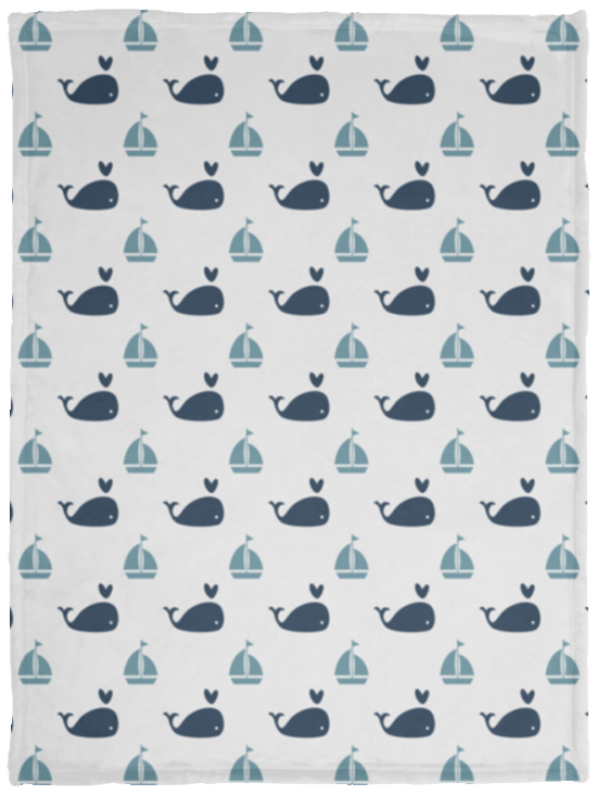 Nautical Nursery Baby Blanket Whales And Sailboat Velveteen Micro Fleece Blanket - 30x40