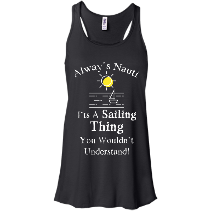 Nautical Ladies Top  - It's A Sailing Thing Flowy Racerback Black Tank