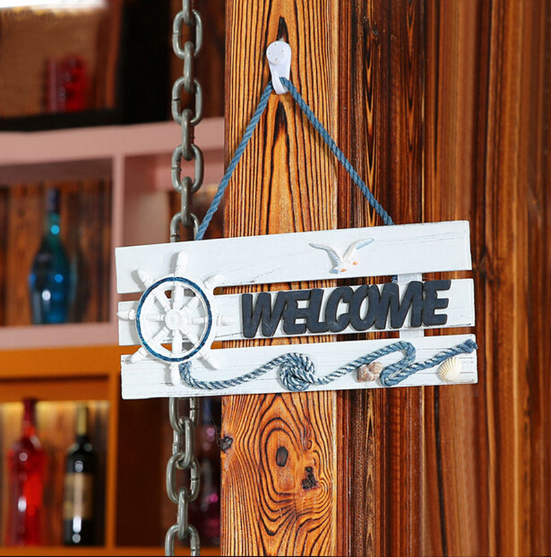 Natical Decor Featuring Decorative Hanging Wheel Welcome Sign 2