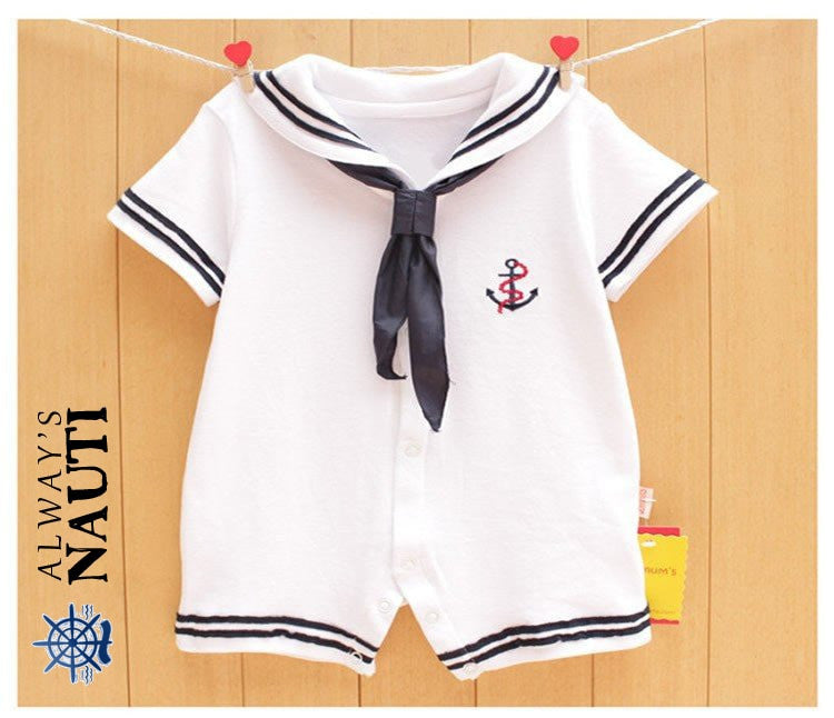 Nautical Newborn White Navy Sailor Jumpsuit