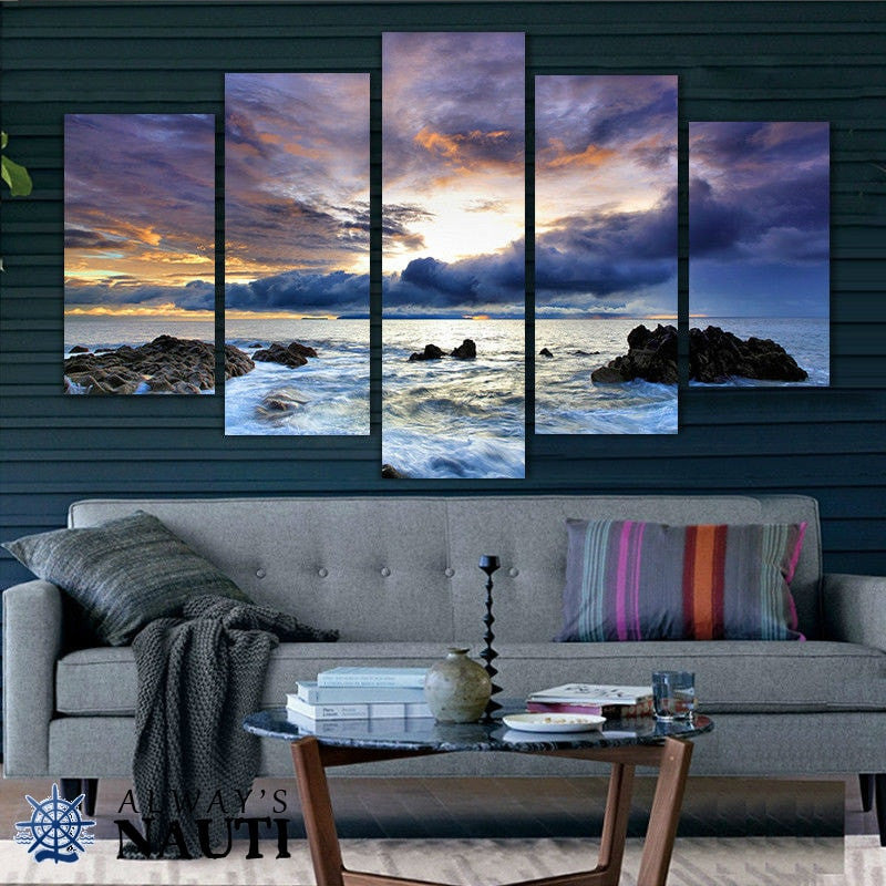 Ocean Themed Wall Decor - Ocean Breeze And Rolling Clouds At Sunrise