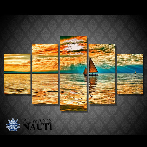 Nautical Art Print - Sailing At Sunset