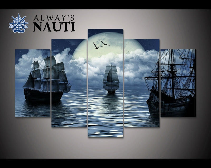 Sailboat Wall Art - Under The Moon Ships At Sea