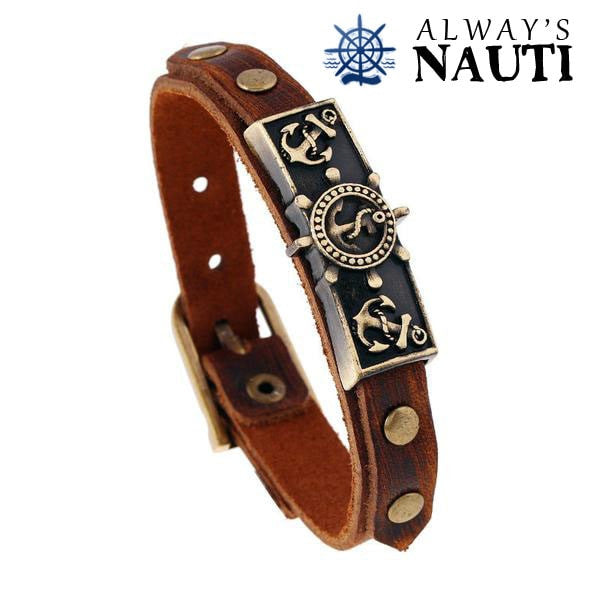 Vintage Anchor Bracelet With Adjustable Leather Strap