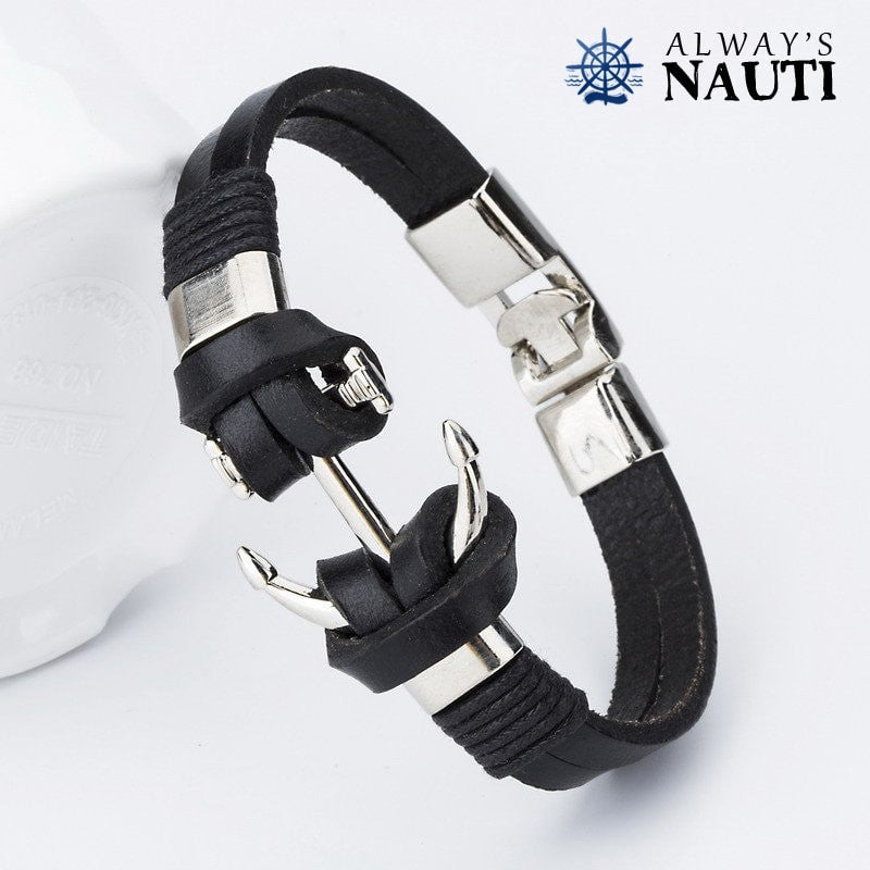 Nautical Anchor Bracelet - Black Or Brown Leather Strap