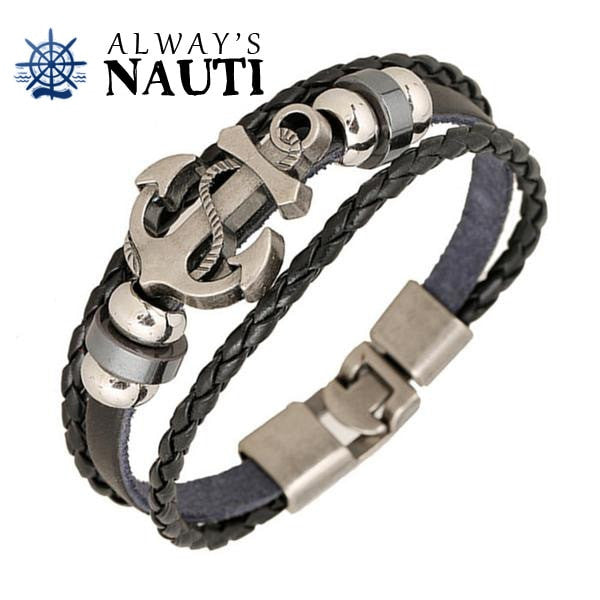 Nautical Anchor Bracelet With A Triple Strap And Easy To Fasten Clasp
