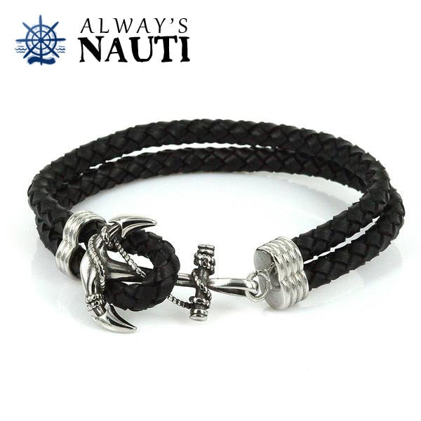 Anchor Bracelet With Leather Black Strap And Seamless Clasp