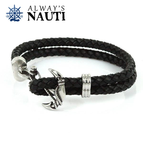Anchor Bracelet With Leather Black Strap 2