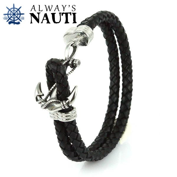 Anchor Bracelet With Leather Black Strap Front View 3