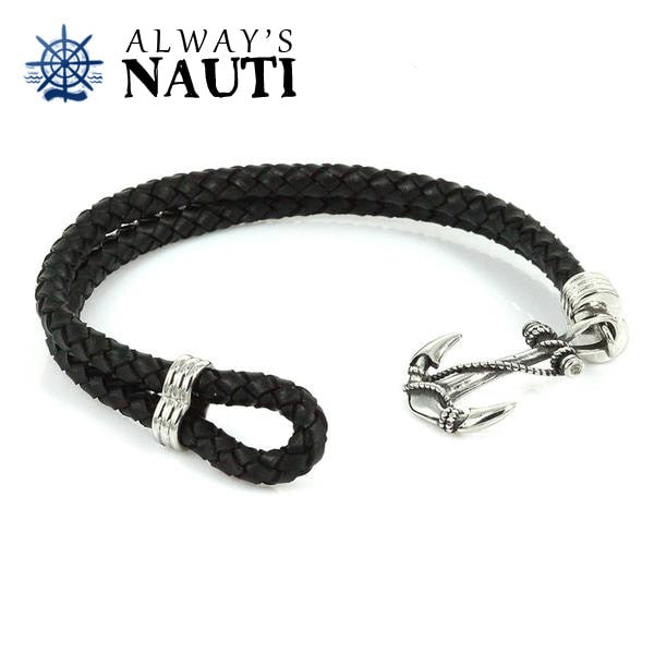Anchor Bracelet With Leather Black Strap Front View 4