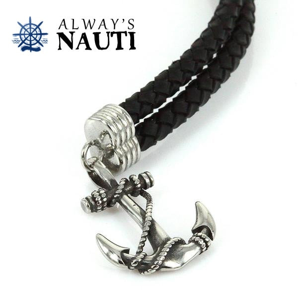 Anchor Bracelet With Leather Black Strap Front View Close Up