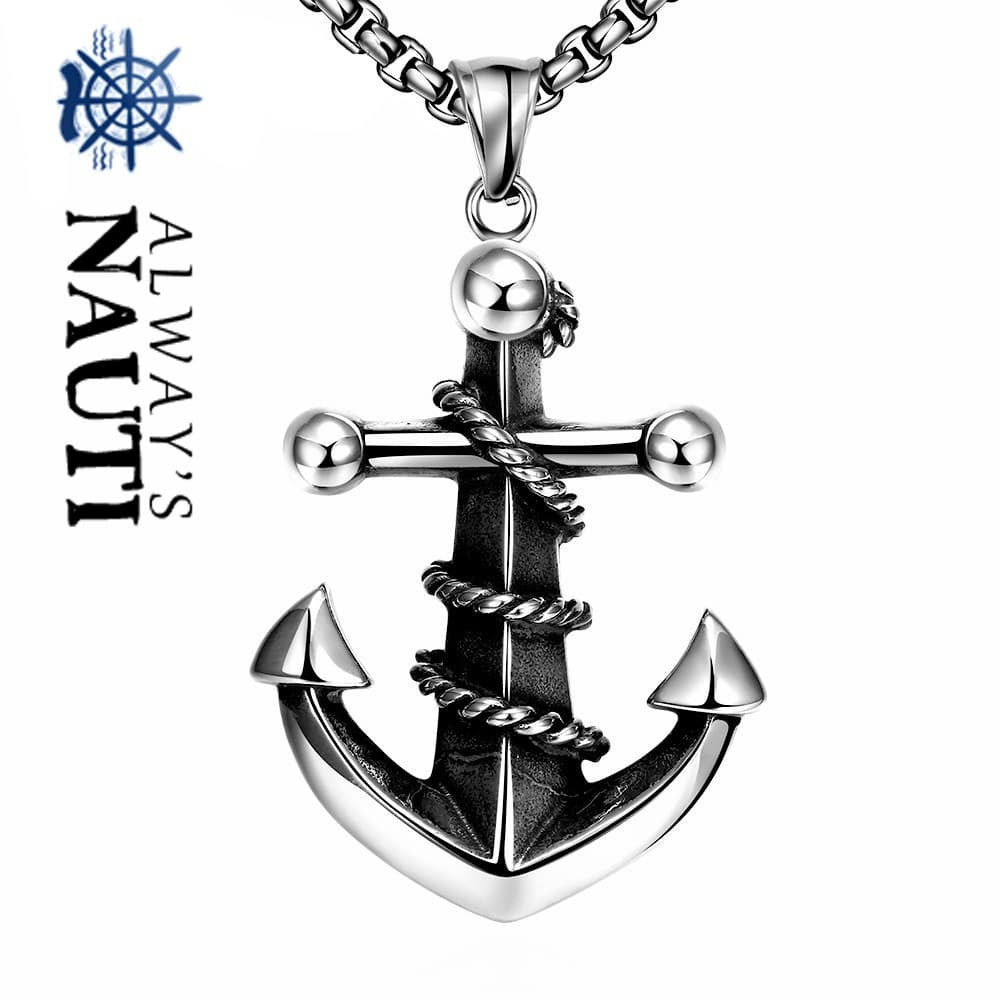 "Nautical Anchor Necklace Pendant And 24"" Chain For Men Made Of Stainless Steel"