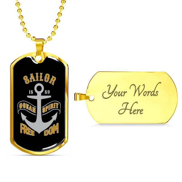Nautical Necklace Anchor In Stainless Steel Or 18k Gold Plated