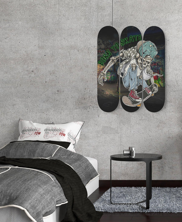 Skate Board Wall Art Born To Skate One Of A Kind Set Of 3 Boards