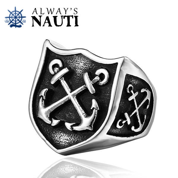 Beautiful Men's Nautical Ring Featuring Anchors On 3 Sides