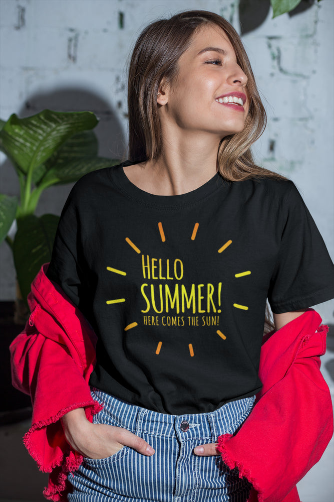 Beach Theme Hello Summer Ladies' Relaxed Jersey Short-Sleeve Tee