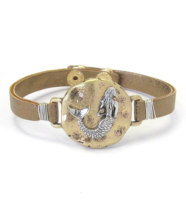 Mermaid Bracelet With Leather Band Strap