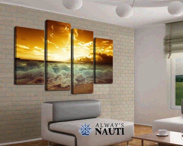 Beautiful Ocean Framed Or Unframed Art - Evening Sky Glow